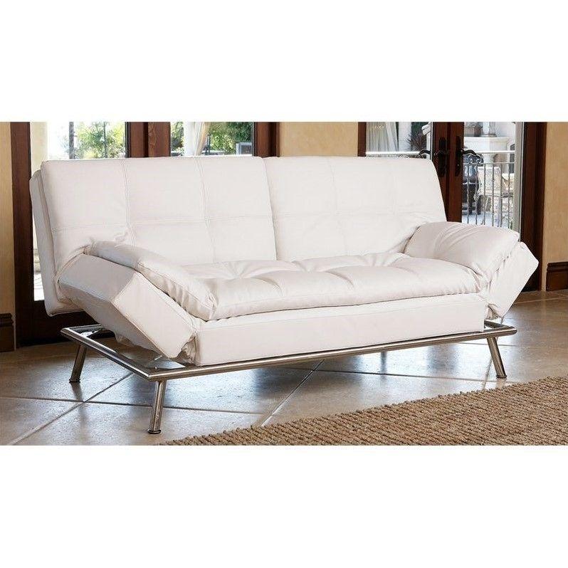 Abbyson living marquette faux leather convertible sofa in
