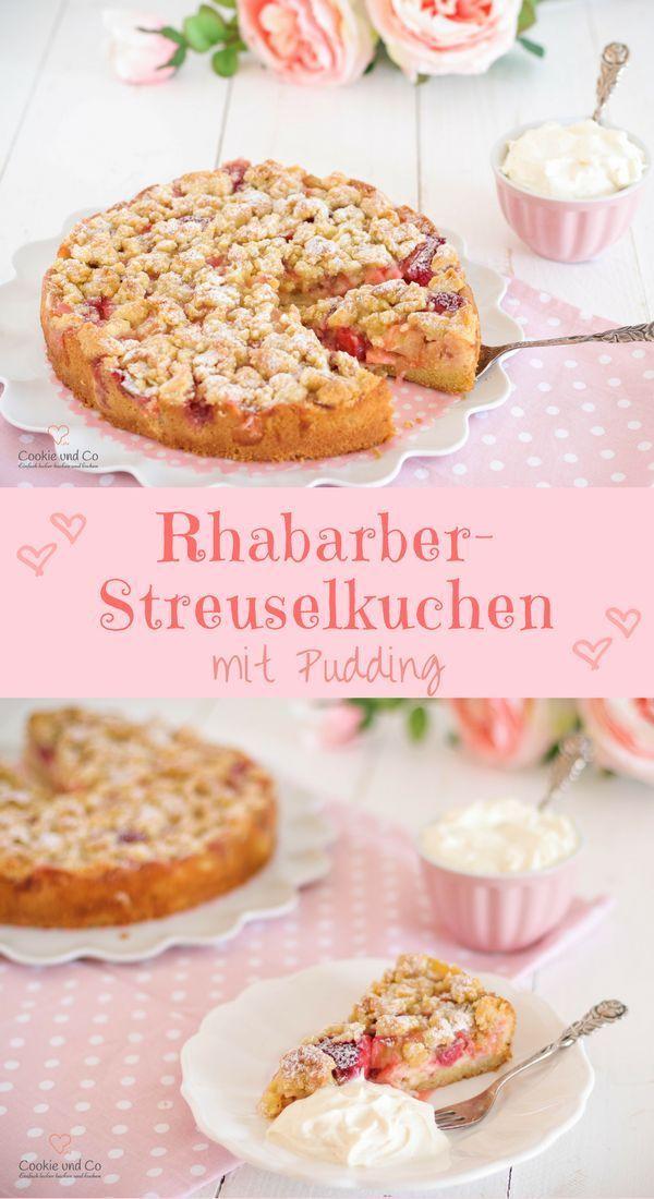 Rhabarber-Streuselkuchen mit Pudding | Cookie und Co