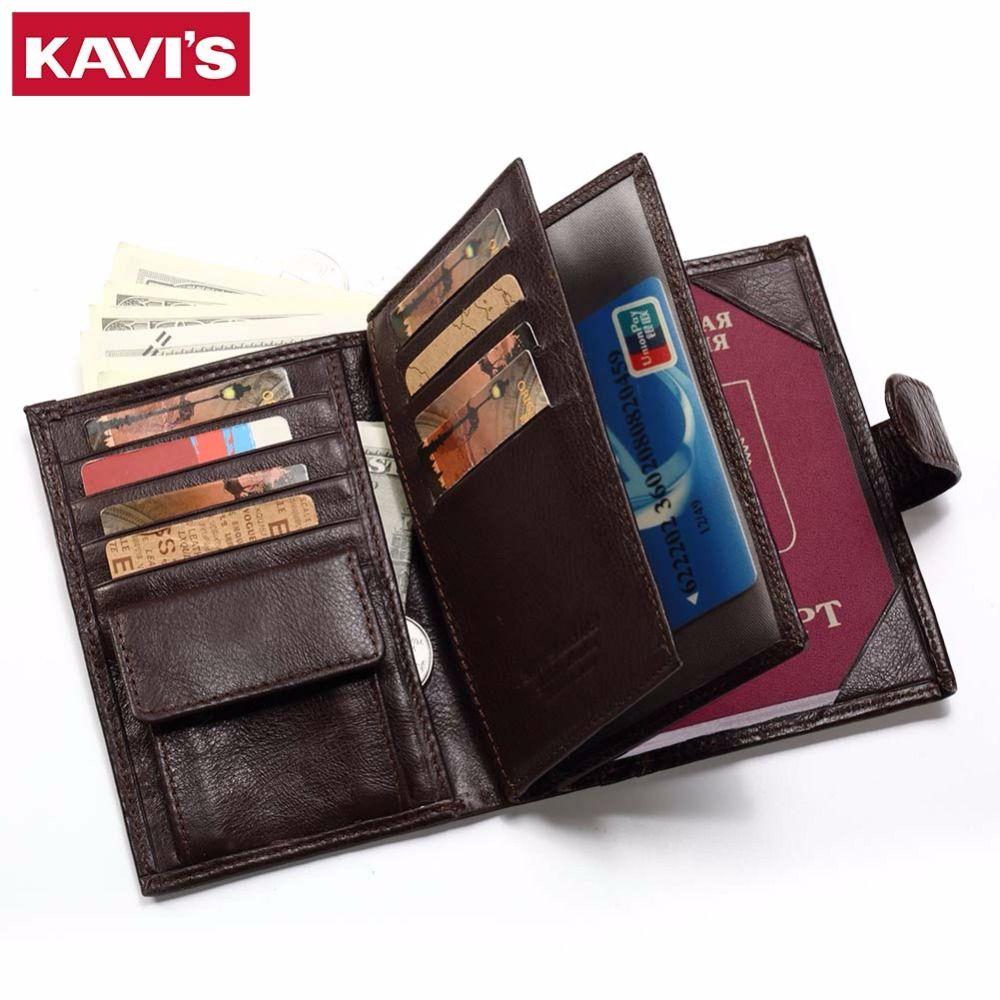 4dbbc9e62 KAVIS Genuine Leather Wallet Men Passport Holder Coin Purse Rfid Magic  Walet PORTFOLIO MAN Portomonee Mini Vallet Passport Cover
