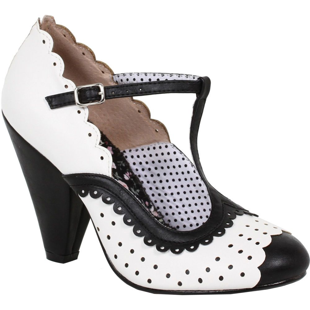 e54328c98 Bettie Page Shoes PAIGE T Strap Dot Heel Black Retro Rockabilly Vintage Pin  Up #BettiePageShoes #pumpsshoes