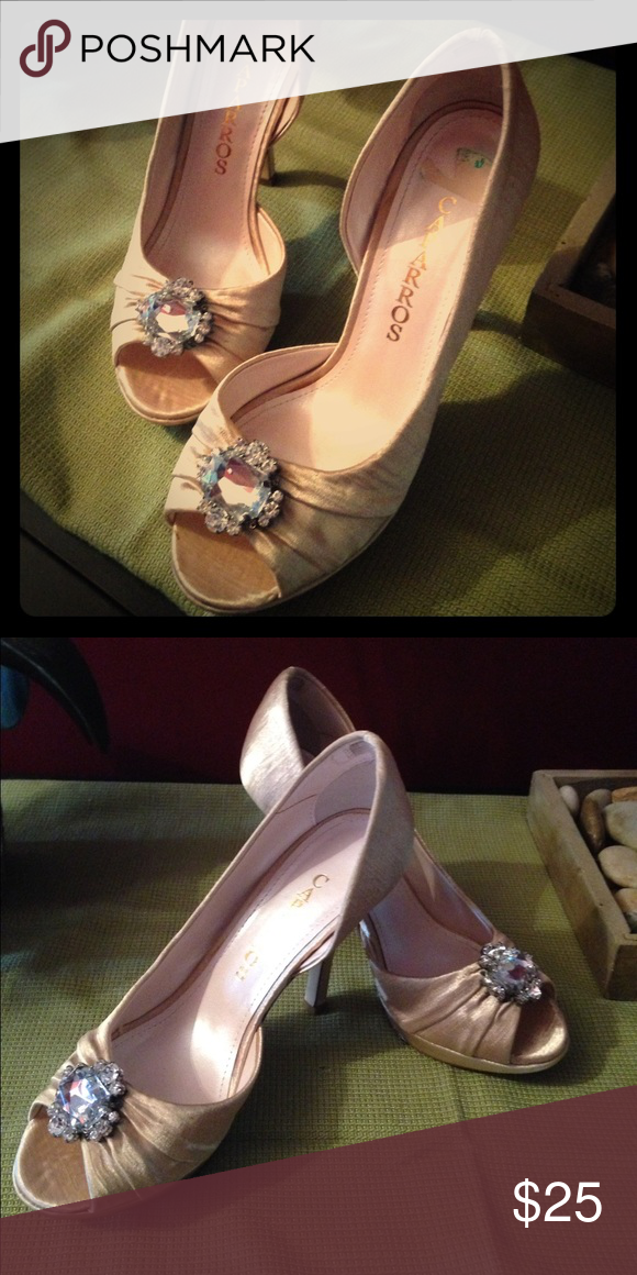 Satin evening heels Capparos from Macy's, stunning evening heels made of off white satin with rhinestone accents. Truly beautiful shoes just too small for me. Size 6, worn once. No stains or scratches. Bottoms have normal wear. Caparros Shoes Heels