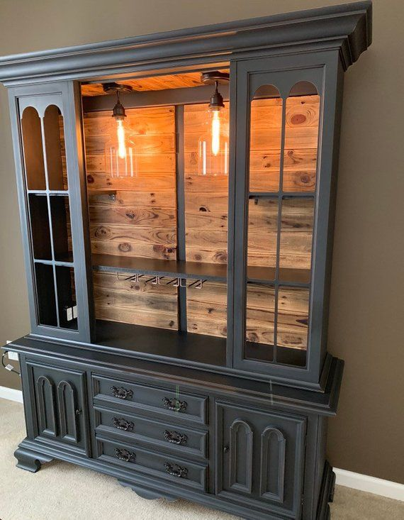 Sold!! Rustic Bar Cabinet, Buffet Hutch, Wine Hutch Liquor China Cabinet, Buffet, China Cabinet, Custom #antiquefarmhouse