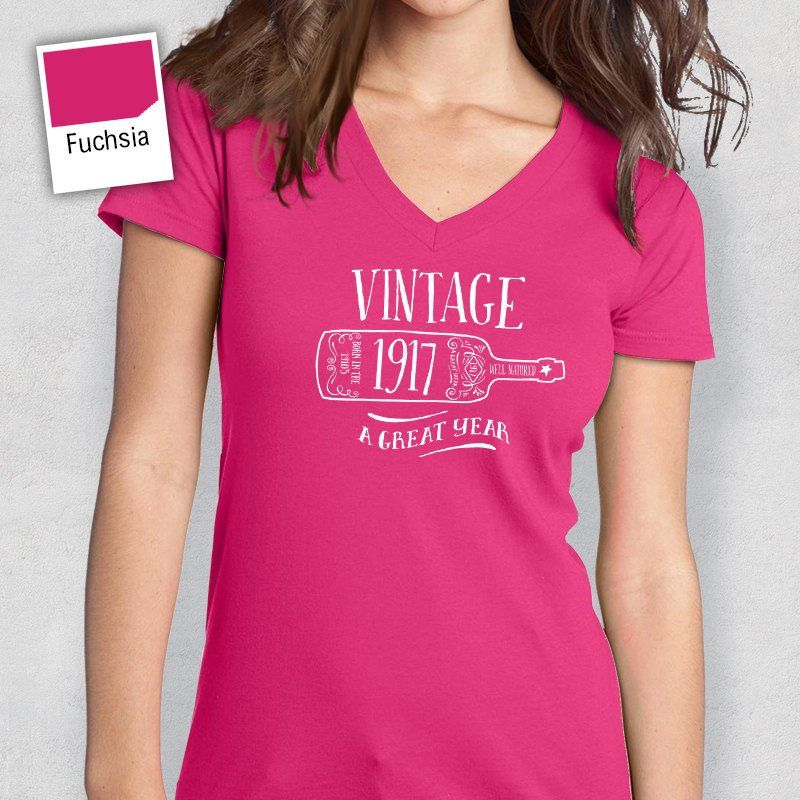100th Birthday Idea Present Womens V Neck Or Gift 1917 For The Lucky 100 Year Old