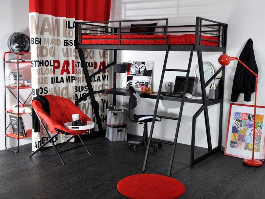 Lit Mezzanine Teenager 90x190cm Bureau Integre Anthracite Chambre Ado Lit Chambre Ado Lit Mezzanine Deco Chambre Ados