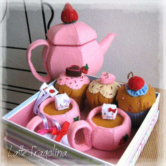 Tea set felt toys Felt food toys for by LatteFragolina on Etsy