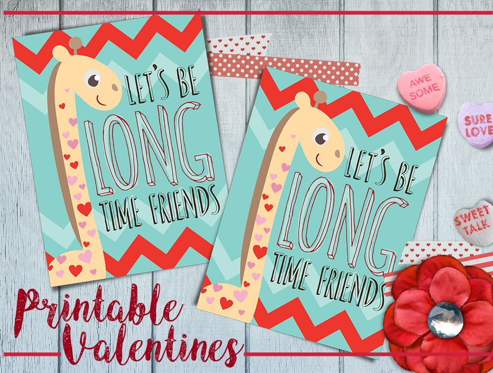 image about Printable Kid Valentine named Free of charge Printable Giraffe Valentines Working day Playing cards Crafts / Do it yourself