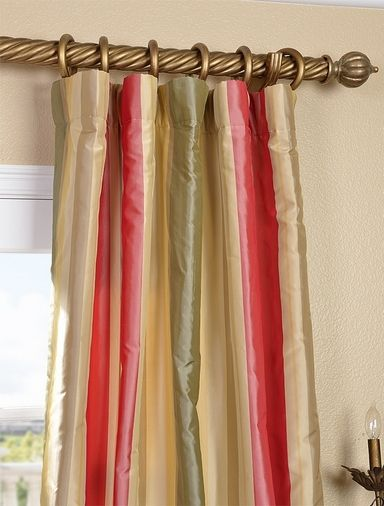 Red Green Gold Striped Silk Curtains Little Home Projects