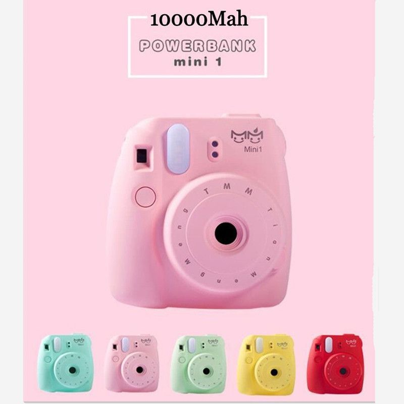 New Style Cute Mini Camera Case Battery Back Up Charger With LED Light  Large Capacity Portable Mobile Charger Powerbank 8e0be652ab