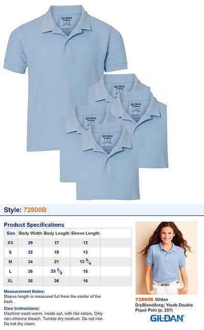 72800B Gildan Youth Unisex School Uniform Double Pique Polo Shirt Pack5