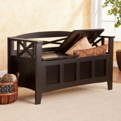 Southern Enterprises Waldo Storage Bench In Black HD862347   The Home Depot