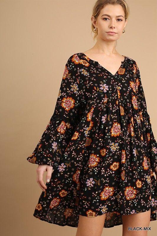 d60089d1e38e14 Umgee BOHO Black Floral Bell Sleeve Trapeze Swing Dress Tunic Top S M L   umgee  Tunic  casual