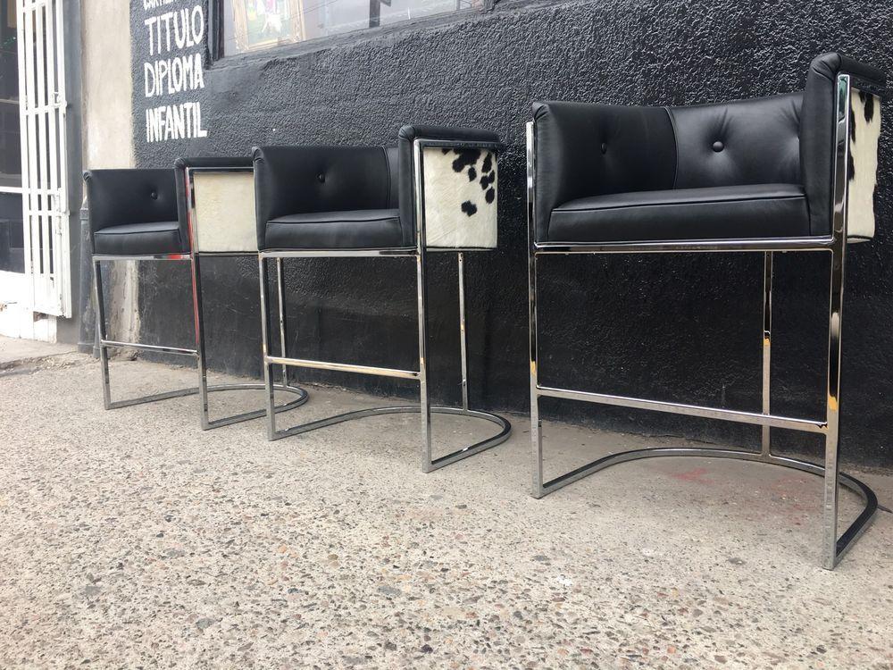 Pleasing Set Of 3 Chrome Cantilever Counter Bar Stools Cowhide Short Links Chair Design For Home Short Linksinfo