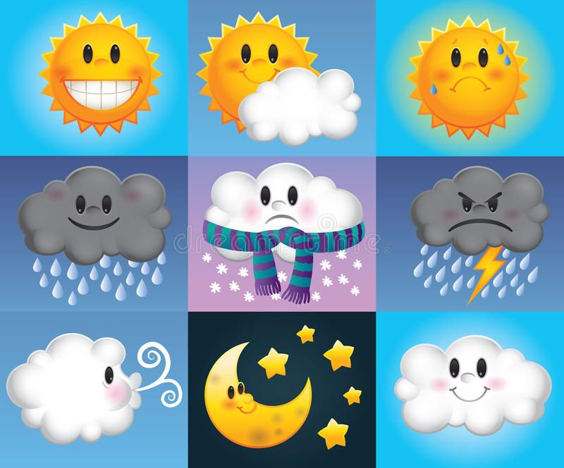 Cartoon Weather Symbols Nine Weather Symbols Which Are Made Up Of Cartoon Suns Aff Symbols C Weather Symbols Weather Crafts Preschool Weather For Kids