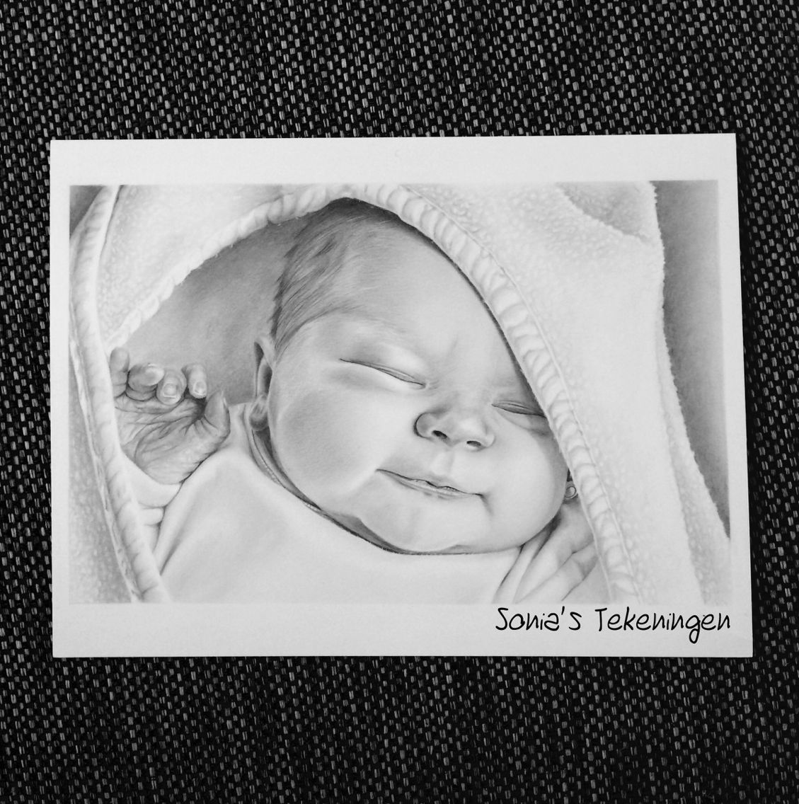 Pencil drawing, sleeping baby. By Sonia's tekeningen. A4 ...