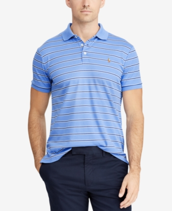 a55dfdff82 Polo Ralph Lauren Men's Classic-Fit Striped Soft-Touch Polo - Blue XS