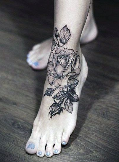 Tatuaze Damskie Na Stopie Rose Tattoo Foot Tattoos Rose Flower Tattoos