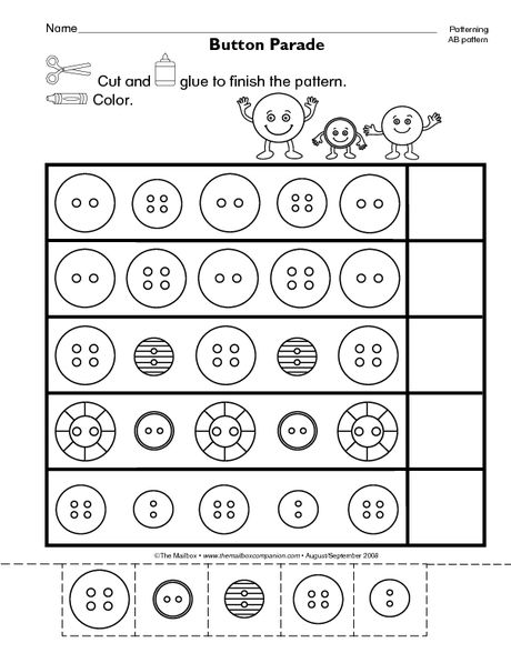 Math Worksheet Completing Ab Patterns The Mailbox Ab Patterns Math Worksheet Worksheets For Kids