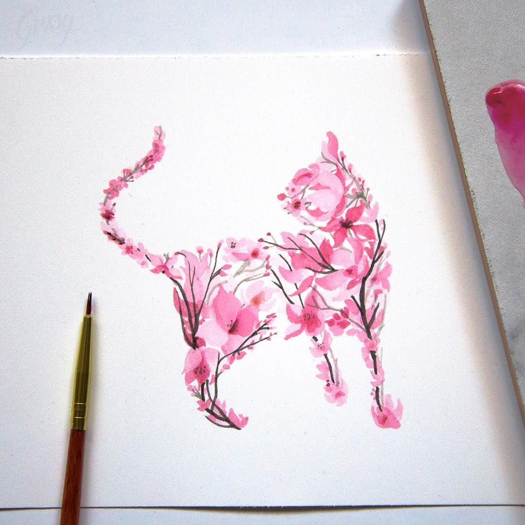 Enchanting Animal Silhouettes Shaped With Painted Cherry Blossoms Watercolor Cat Silhouette Tattoos Tattoos
