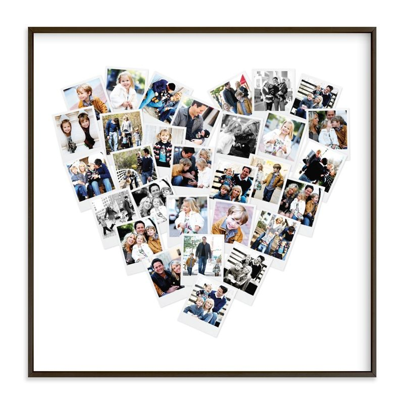 Create A Unique Keepsake With Our Favorite Heart Snapshot Mix® Photo Art Print. Personalize With 30 Of Your Favorite Photos And Special Memories. Keep This Unique Collage For Yourself As A Personal Memento, Or Give To A Family Member Or Friend As The Perfect Luxury Gift. Copyright © 2013; U.S. Patent D767021. Modern, Grey Custom Photo Art From Minted By Independent Artist Minted Called Heart Snapshot Mix® Photo Art With Printing On In Film GCP.