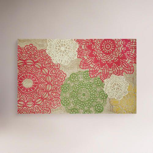 Cost Plus World Market Pastel Crochet Indoor Outdoor Rug Cubicle