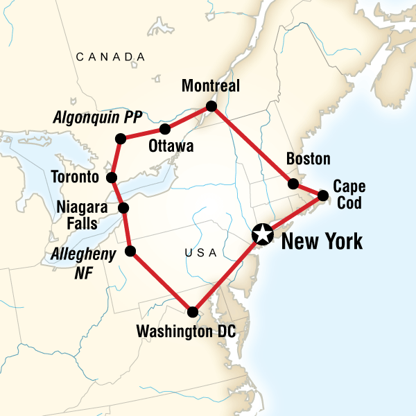 Map Of The Route For Highlights Of The Eastern US Canada USA - Map eastern canada and us