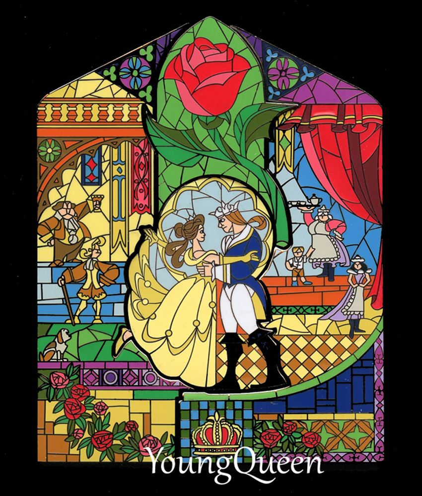 Disney Catalog Beauty And The Beast Belle Stained Glass Box Puzzle
