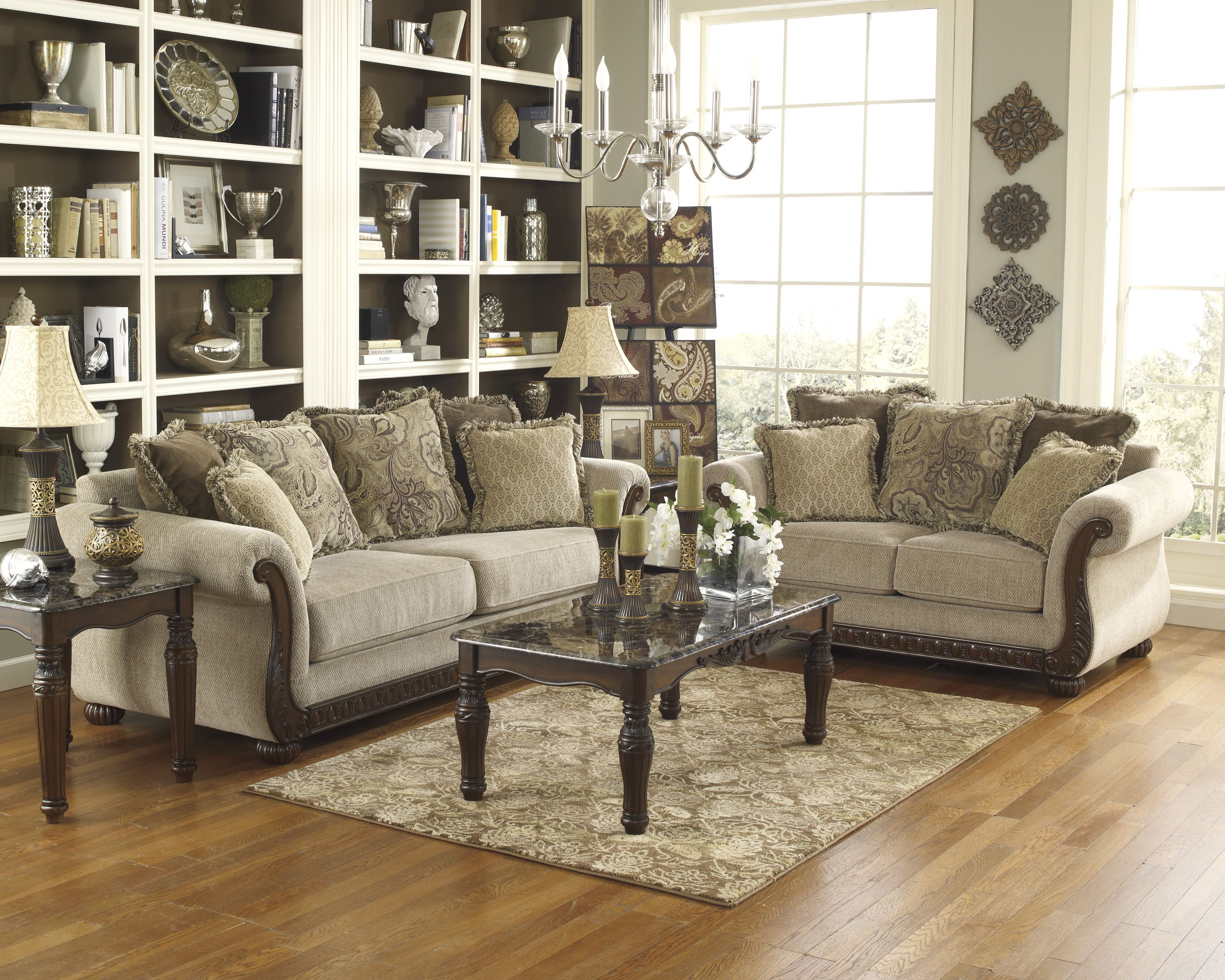 Feel The Ancient Style With Antiques Details Ashley Home Furniture Kuwait Ashley Furniture Living Room Living Room Sets Furniture