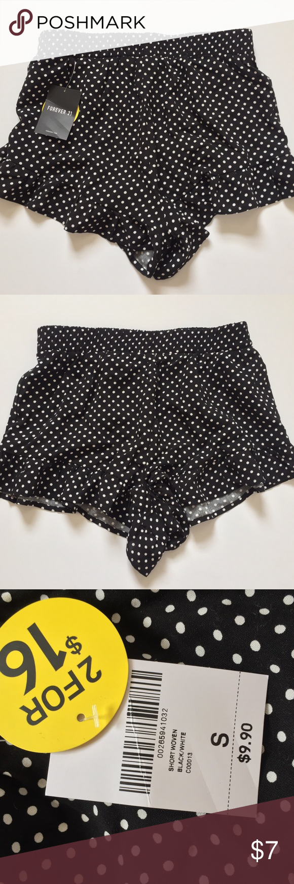 Black Polkadot shorts with ruffles