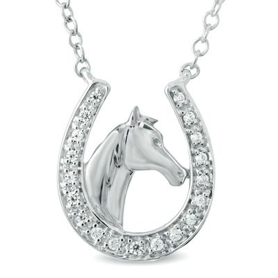 Diamond accent flower composite double teardrop earrings in tw diamond horseshoe with horse pendant aloadofball Image collections