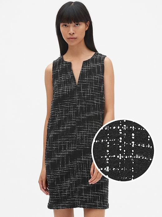 4203a479cdf8fd Gap Women s Sleeveless Split-Neck Shift Dress In Tweed Black Tweed ...