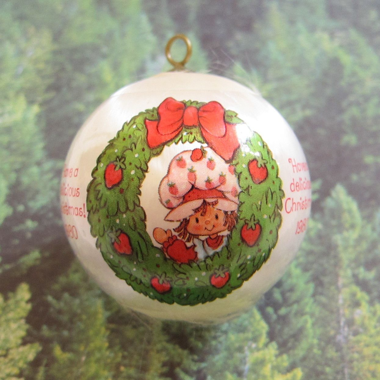 This Vintage Strawberry Shortcake Christmas Tree Ornament Is A White Silk  Ball With A Plastic Sleeve