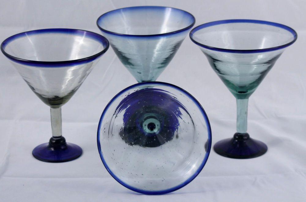 Mexican Margarita Martini Glasses Set Of 4 Cobalt Blue Rim Base Huge Margarita Martini Mexican Margarita Martini