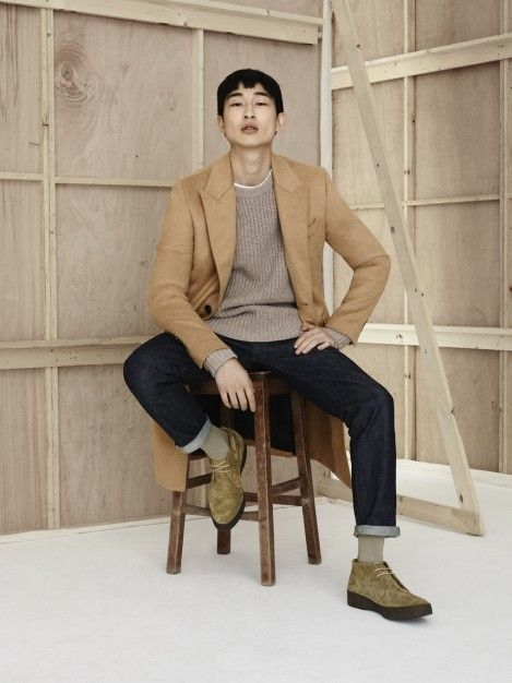 4 ways to wear The Overcoat - with indigo jeans, tonal knitwear and a white tshirt