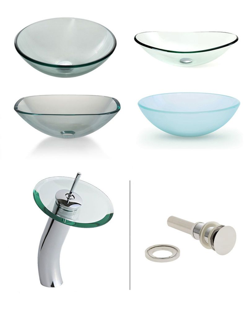Glass vessel sink with waterfall faucet combination for bathroom vanity sinks.  #Windbay