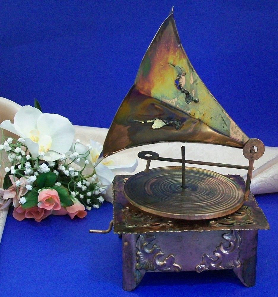 Vintage Copper Gramophone Music Box