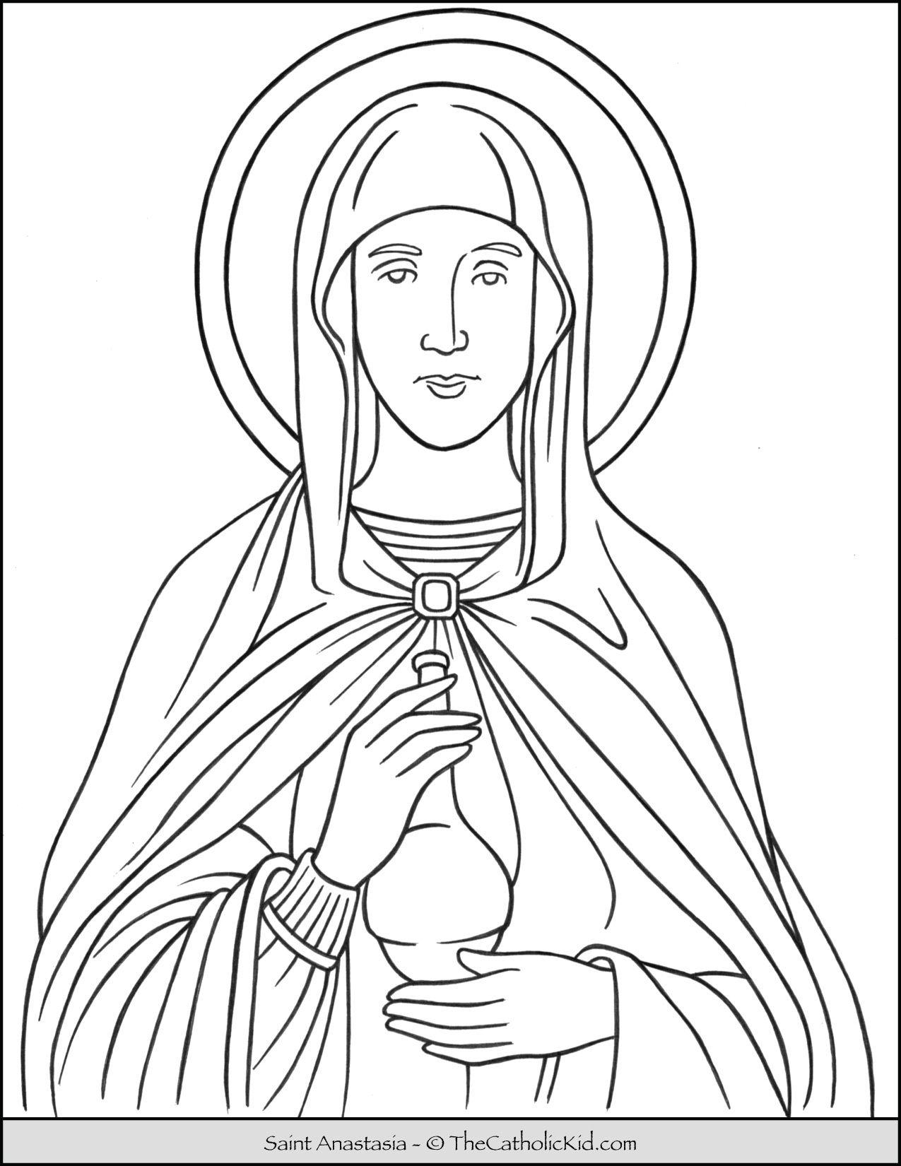 Saint Anastasia Coloring Page Thecatholickid Com Jesus Coloring Pages Coloring Pages Cat Coloring Page