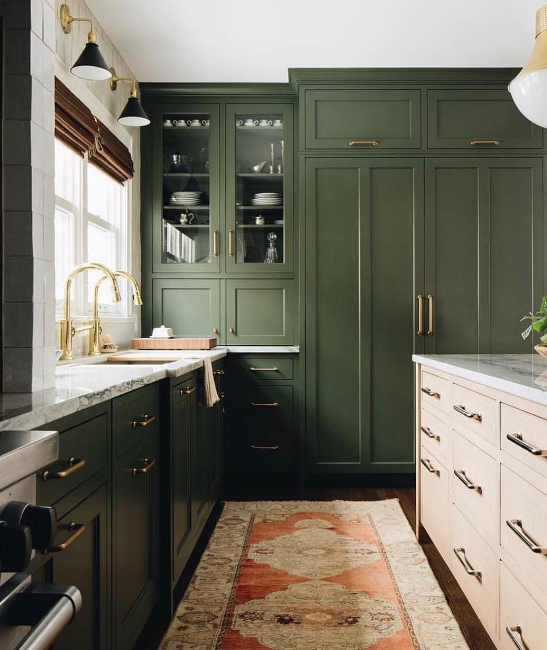 Decorist On Instagram This Olive Green And Brass Kitchen Has Us Swooning Jeanstofferdesign Green Kitchen Cabinets Kitchen Plans Green Cabinets