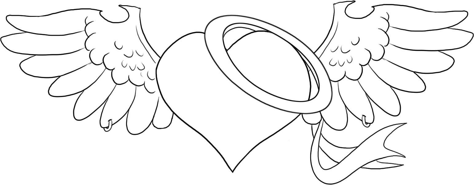 hearts with wings coloring pages, printable hearts with wings ...