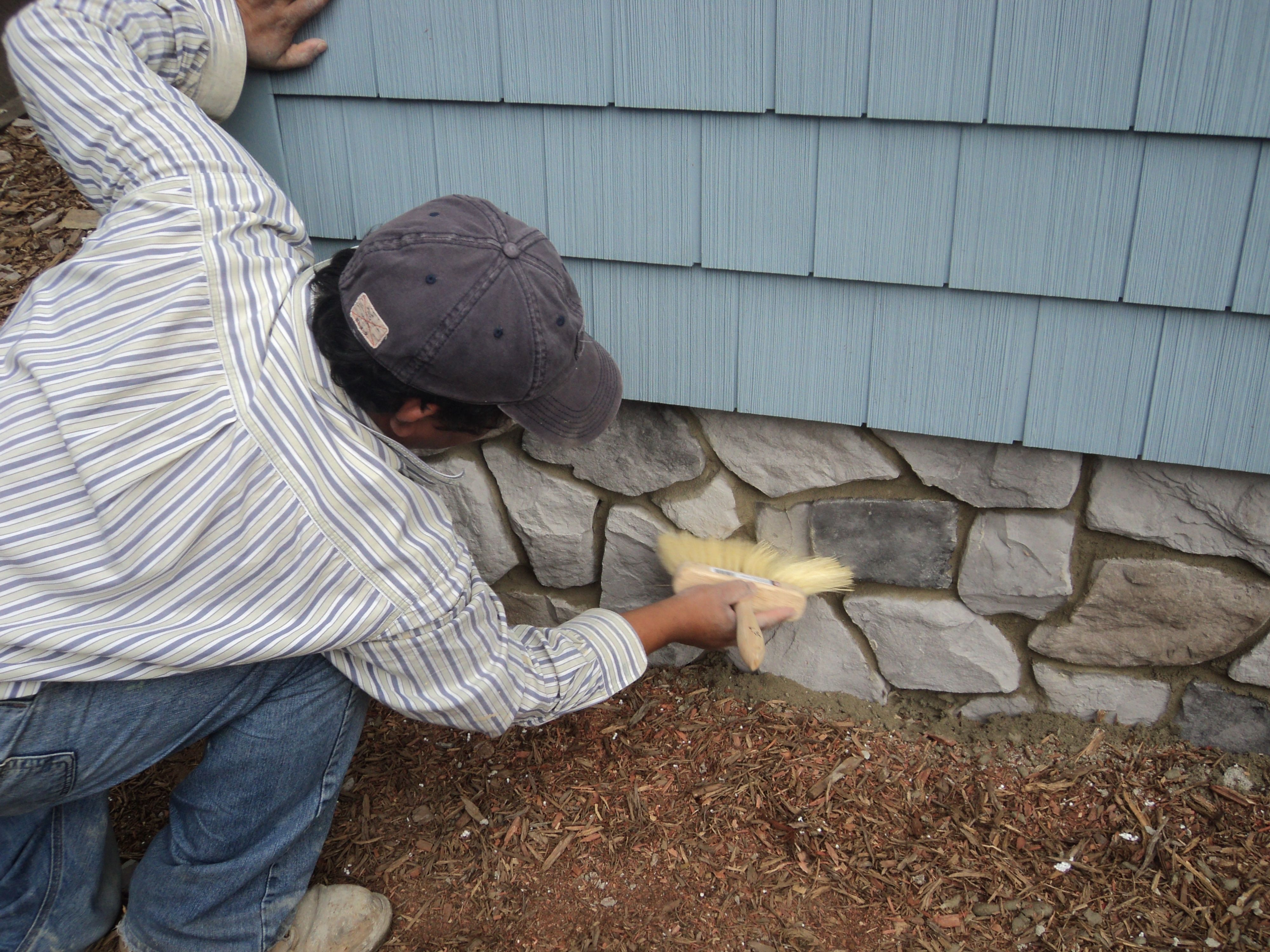 Vinyl Cedar Shake Siding w rock foundation Outdoor Decor