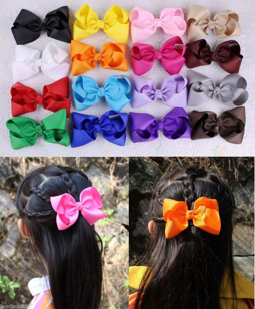 New 16pcs Baby Girl 4inch Grosgrain Ribbon Hair bows with Alligator clips 401B #Dolababy