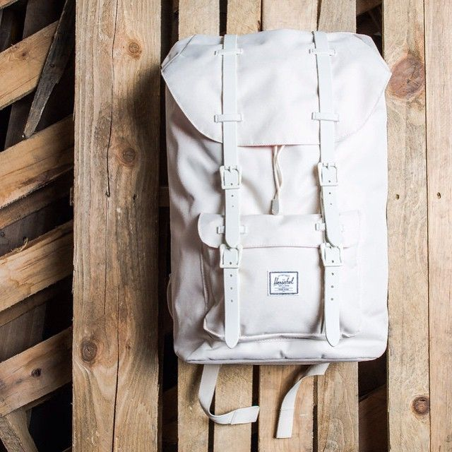"""Herschel Supply Co. Little America Backpack Mid Volume - Natural/Gum Rubber $100 Available now online and at our Lafayette location. #herschel #backpack…"""