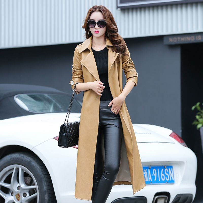 9a8ccae4cb41 High Quality long leather Trench Coats For Women Autumn Winter ...