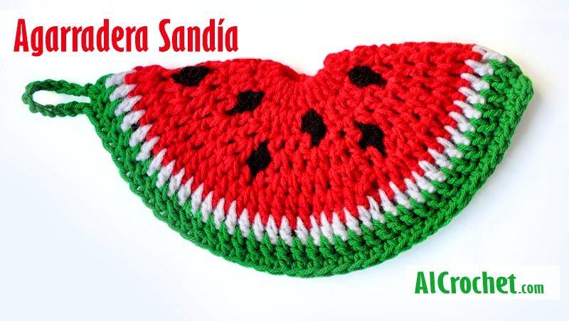 Agarradera Sandía tejida al Crochet. Un diseño super simple y fácil ...