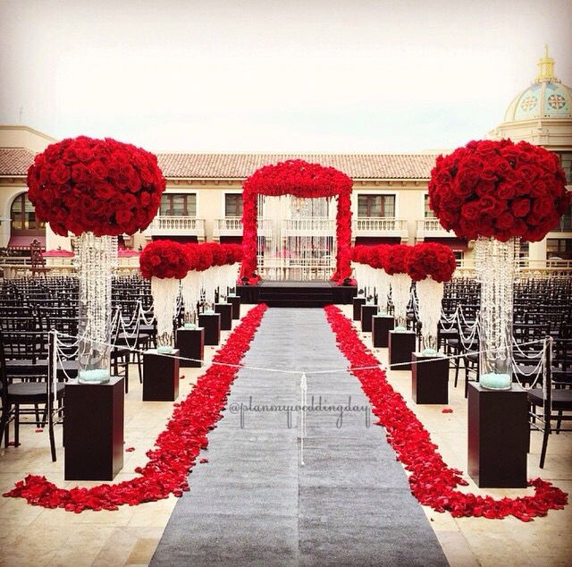 Red Black And White Ceremony Weddingideasblackandwhite Red
