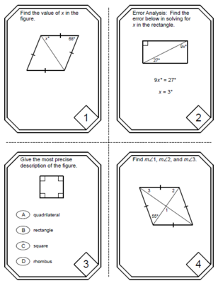 Special Parallelograms Task Cards Rectangle Square Rhombus 20