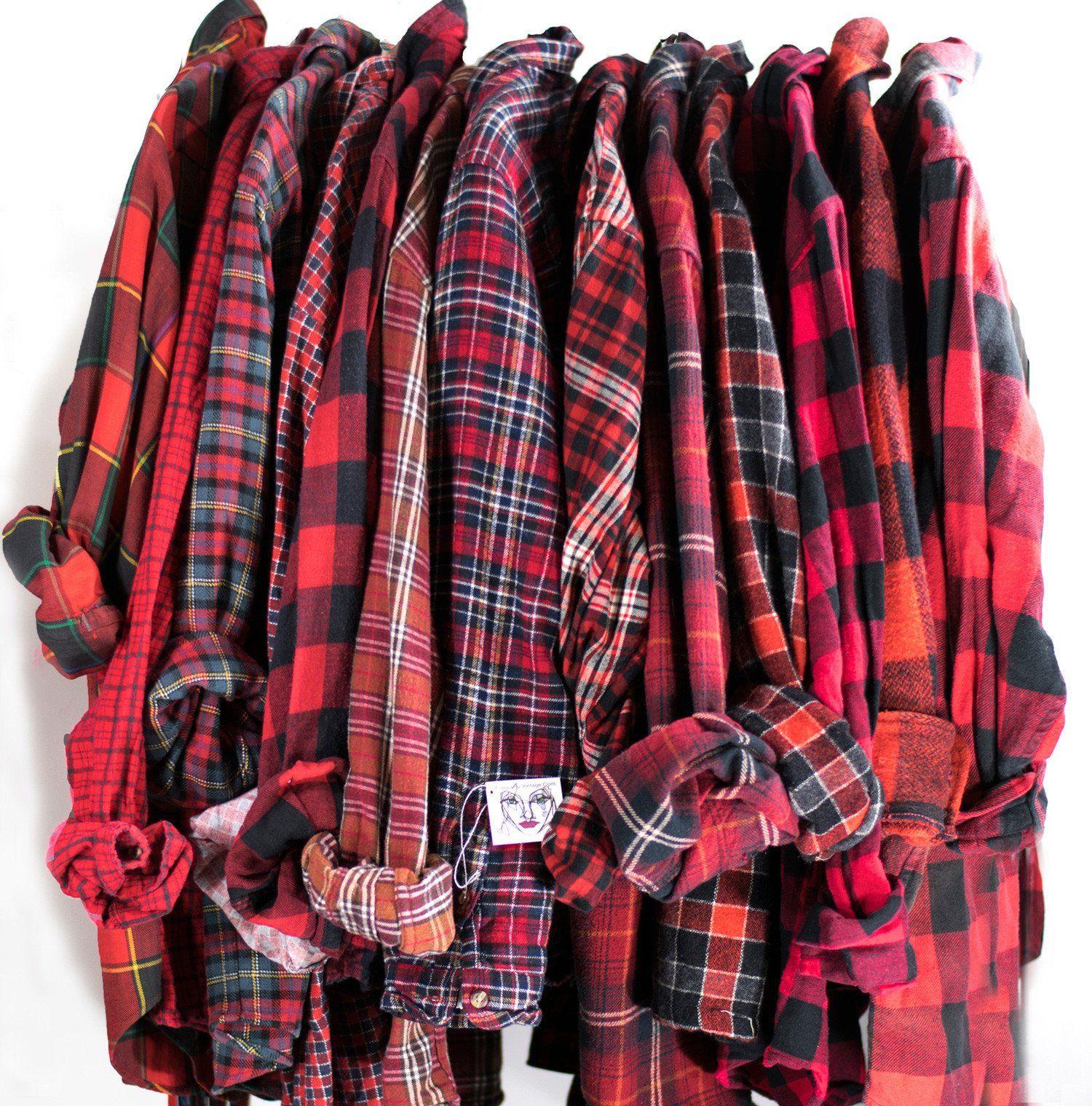 3f6b7619104 Vintage Red Flannel Cotton Button Down Unisex Grunge Tie Waist Plaid Red  Black Shirt