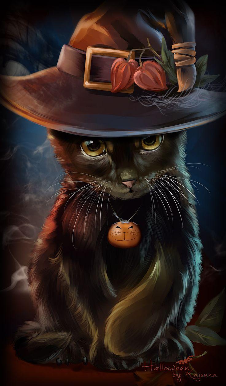 Black Halloween Cat Halloween cat, Cat art, Cute drawings