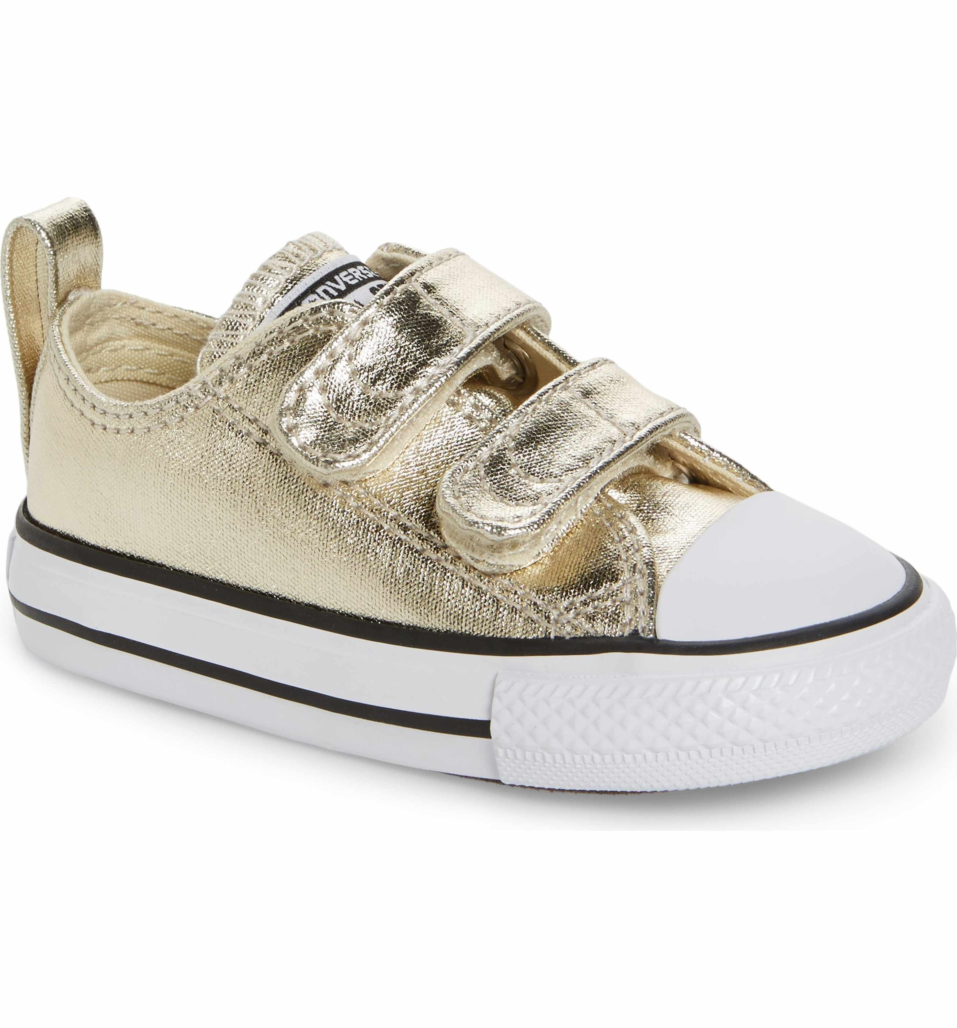 268cb6a28a4 Main Image - Converse Chuck Taylor® All Star® 2V Metallic Low-Top Sneaker  (Baby