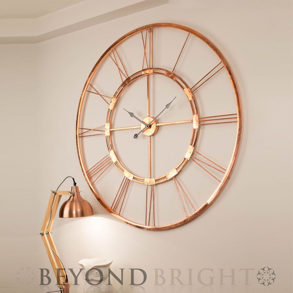 Large Wall Clock 101cm Copper Bertha Metal Industrial Vintage French