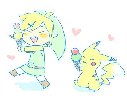 Toon Link and Pikachu D'AAAAWWWWWW